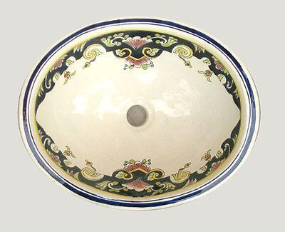 #087) MEDIUM 17x14 MEXICAN BATHROOM SINK CERAMIC DROP IN UNDERMOUNT BASIN