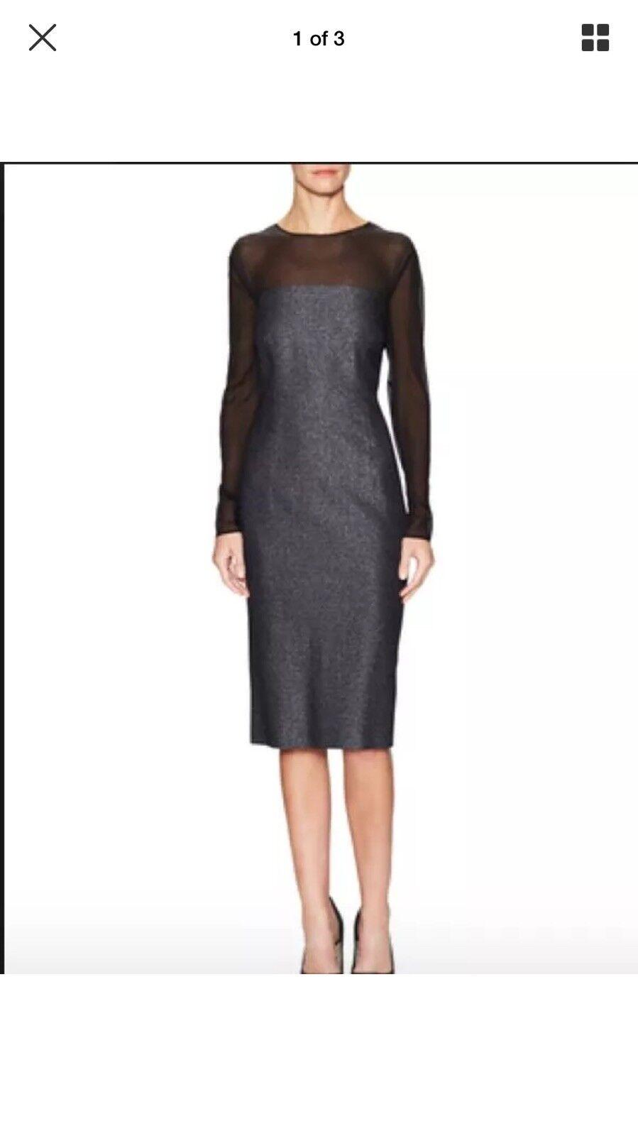 NWT  Escada Dariello Silk Wool Blend Yoke Dress. Size 34