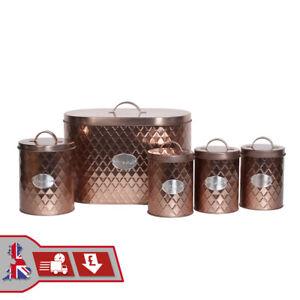 Vintage Copper 5pcs Kitchen Storage Set Bread Bin Tea Sugar Coffee Biscuit Tins