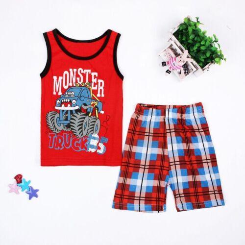 2pcs Baby Boys Summer Underwaist Tops Plaids Shorts Set Kids Clothes Outfits