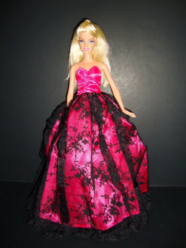 Hot Pink Strapless Ball Gown with Black Flowered Lace Overlay Made to Fit the Ba