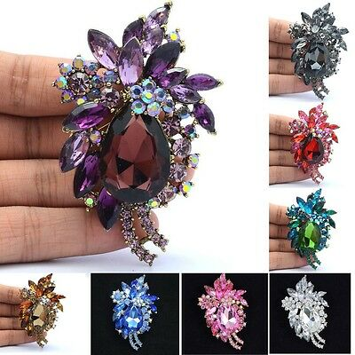 Flower Pendant Brooch Broach Pin With 8 Colors Rhinestone Crystal For Women 4997