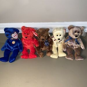 Lot of 5 Ty Beanie Babies Hero Clubby Mother Sizzle Clubby II Retired VTG