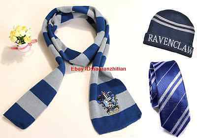 Harry Potter Ravenclaw House Wool Scarf Costume + Silk Tie+ Hat/Cap Cosplay