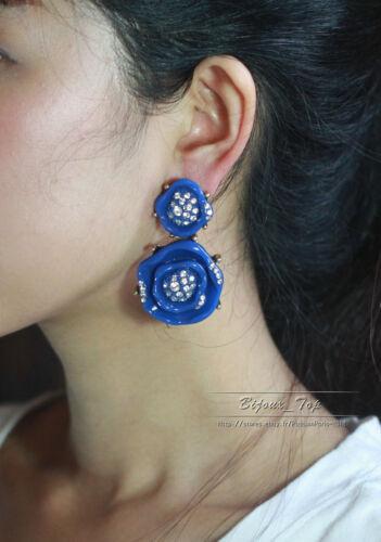 Boucles d/'Oreilles Clou Gros Email Fleur Bleu Marine Cristal Vintage XX 9