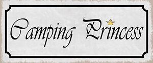 Camping Princess Tin Sign Shield Arched Metal 10 X 27 CM K0679