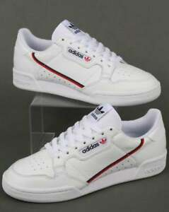 sports shoes e6d07 f106e Image is loading adidas-Continental-80-Trainers-in-White-Red-amp-