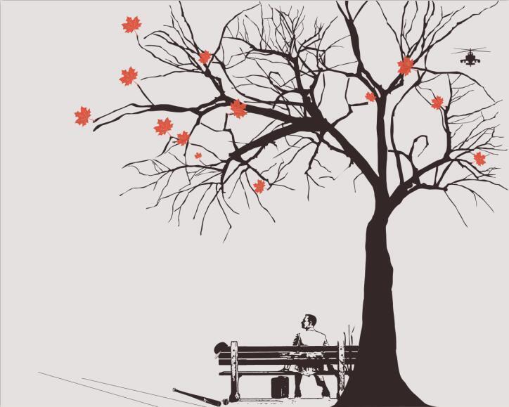 3D Bäume, Bänke 2765 Fototapeten Wandbild Fototapete BildTapete Familie