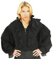 Black Linen Pirate or Renaissance Shirt for Adults Size XL 44-46 chest