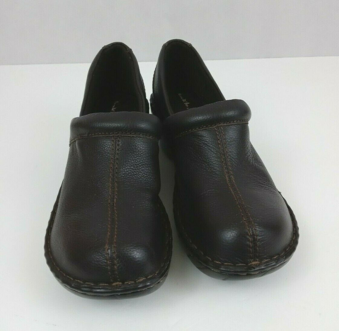Thom McAn Womens Brown Leather Mules Clogs Slip-On Shoes Size 10W