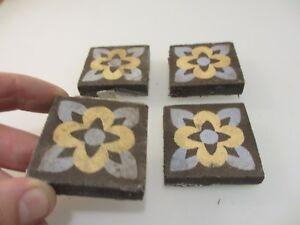 Victorian-Ceramic-Floor-Tile-Terracotta-Antique-1800s-Vintage-Old-Tiles-Pugin-x4