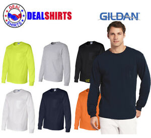 bee8aab9657 Gildan - Ultra Cotton Long Sleeve T-Shirt with a Pocket S-5XL- 2410 ...