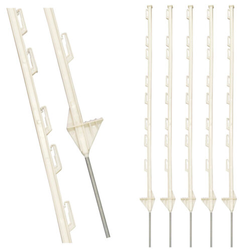 WHITE PLASTIC FENCING PINS POSTS STAKES 1m high for Temporary Event Fencing x 50