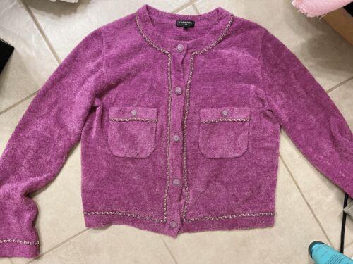 Purple Cotton Chain Cardigan L
