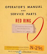 National Broach Gcu 2800 Red Ring Shaving Machine Operation Service Manual 1963
