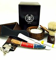 Zeva Solingen Beautiful Wooden Cut Throat Straight Razor Shaving Set, Dovo Paste