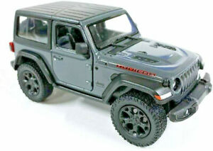 """2018 Jeep Wrangler Rubicon HARD TOP Diecast Model Toy Car 1:34 Scale 5"""" GREY"""