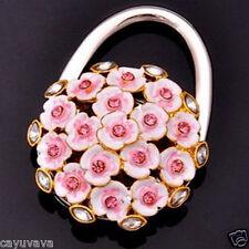 New Pink Blossom w/rhinestones Handbag Bag Purse Folding Hanger Hook Holder