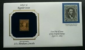 [SJ] USA Abraham Lincoln President (stamp with cover) MNH *22k gold FDC?