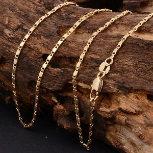 2mm-Women-Men-18k-Gold-Plated-Plain-Chain-Link-Necklace-18-034-30-039-039-Jewelry