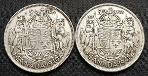 1940-amp-1941-Canada-Silver-50-Cent-Half-Dollars-80-Silver-Coins