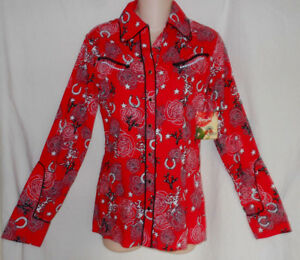 WRANGLER-Rodeo-Quincy-NWT-Red-Western-HorseShoe-Star-Diamond-Snap-L-S-Shirt-Top