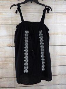 4a44151985070 NWT Women's A GLOW Black MATERNITY Embroider BOHEMIAN Strap BOHO ...