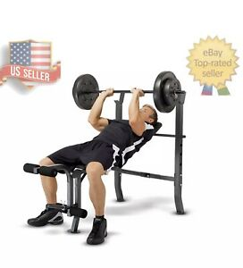 Marcy Standard Adjustable Weight Bench with 100lb Weight Set- NO CALI SHIPPING