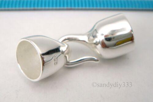 Plata esterlina brillante 1x Cuero Liso Tapa De Extremo Cable de 8mm con cierre de Gancho #2590