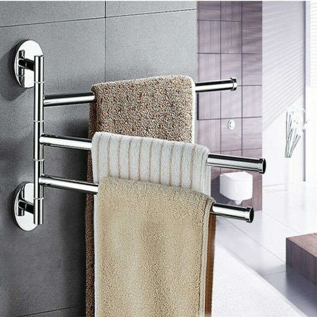 Bathroom Towel Shelf Bar Rotating Hanger Wall Mount Organizer Chrome Rack Toilet