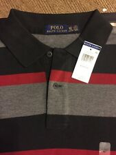 NWT POLO RALPH LAUREN MENS S/S COTTON STRIPED SHIRT BLACK RED Big/Tall XLT