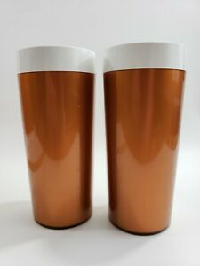 Set-of-2-Vintage-NFC-Thermal-Copper-Insulated-Tumbler-Glass-Mug-Mid-Century-MCM