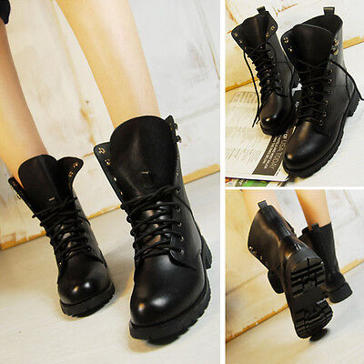 New Women Lady Black Non-Slip Short Flats Army Work Military Boots Lace-UP Shoes