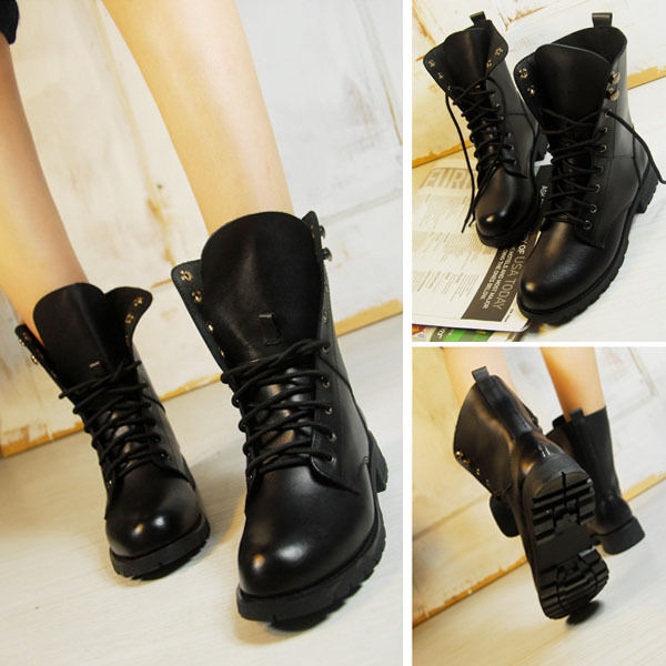 Hot Women's Military Army Combat Riding Ankle Military Boots Lace Up Boots Shoes