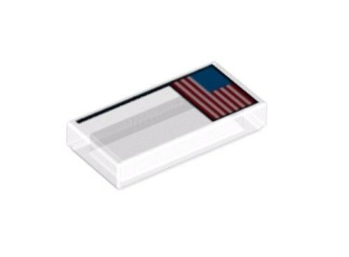 LEGO U.S FLAG TILE ~ Rare Authentic Printed 1 x 2 Tile USA NASA Apollo NEW *