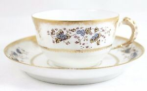 Details about 6 SETS ANTIQUE LEWIS STRAUS LIMOGES CHINA CUP SAUCER GILT  WHITE BLUE FLORAL GOLD