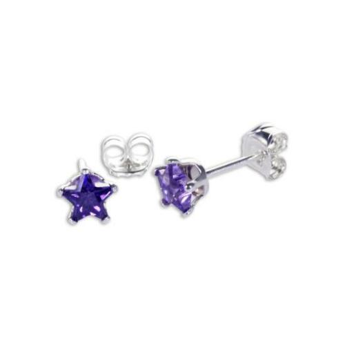 Plata Esterlina 4 mm estrella de cristal de circonia cúbica CZ Aretes13 Colores