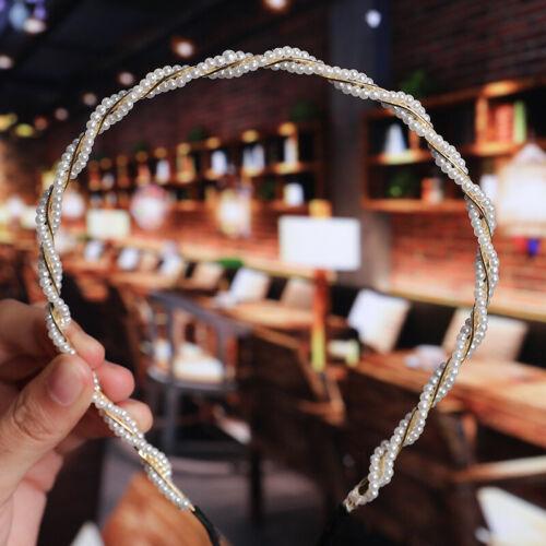 Women Charm Pearl Gold Leaf Flower Hair Hoop Hair Band Headband Hair Accessories
