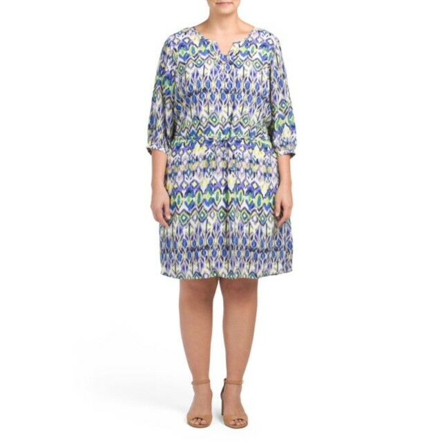 NYDJ damen Plus lila Blau Dress 3 4 Sleeve Spring Shape Wear Sz 3X NWT