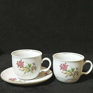 Vintage Kahla 2 Coffee/Tea Cups 1 Saucer Dark Pink Flower Gold Trim Preowned