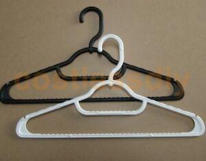 Plastic-Black-amp-White-Anti-Slip-Clothes-Coat-Hangers-Tie-Skirt-Hooks-5-25-Packs