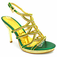 Ladies Womens Party Sparkly Diamante Ankle Straps High Heel Shoes Sandals 1012-6