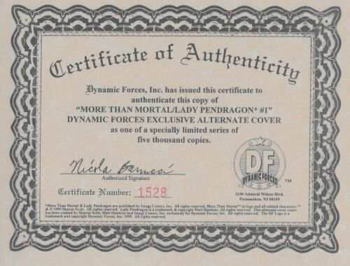 More than Mortal Lady Pendragon No.1 Dynamic Forces Variant Cover w Certificate