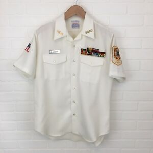 US-Navy-Uniform-Top-Button-Up-with-Medals-amp-Name-Plate-Size-Large-VFW-Creighton