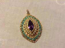 Antique Vintage 14K Yellow Gold Locket Pendant Large Amethyst Turquoise Pearls