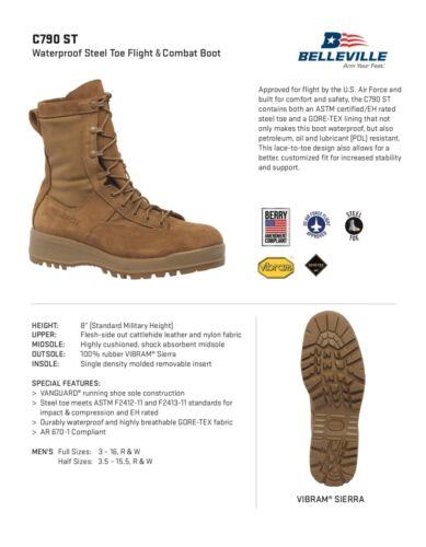 Coyote Brown Belleville C790 ST Waterproof Steel Toe Flight /& Combat Boot