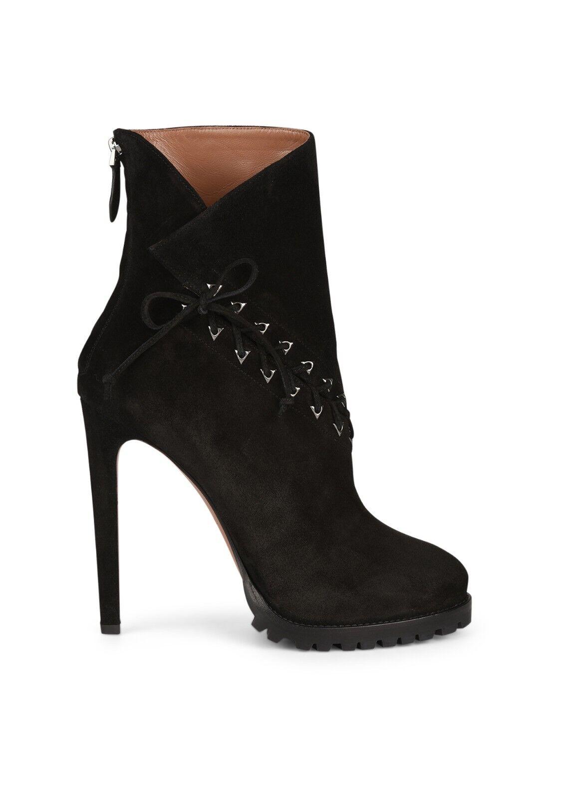 *** Azzedine Alaia Black Suede Platform Ankle Boots Size 40