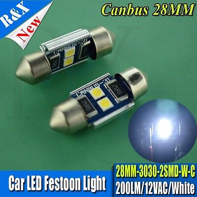 4PCS 28mm 3030 2 LED Car Festoon Dome Map Light Canbus Bulbs ERROR Free White