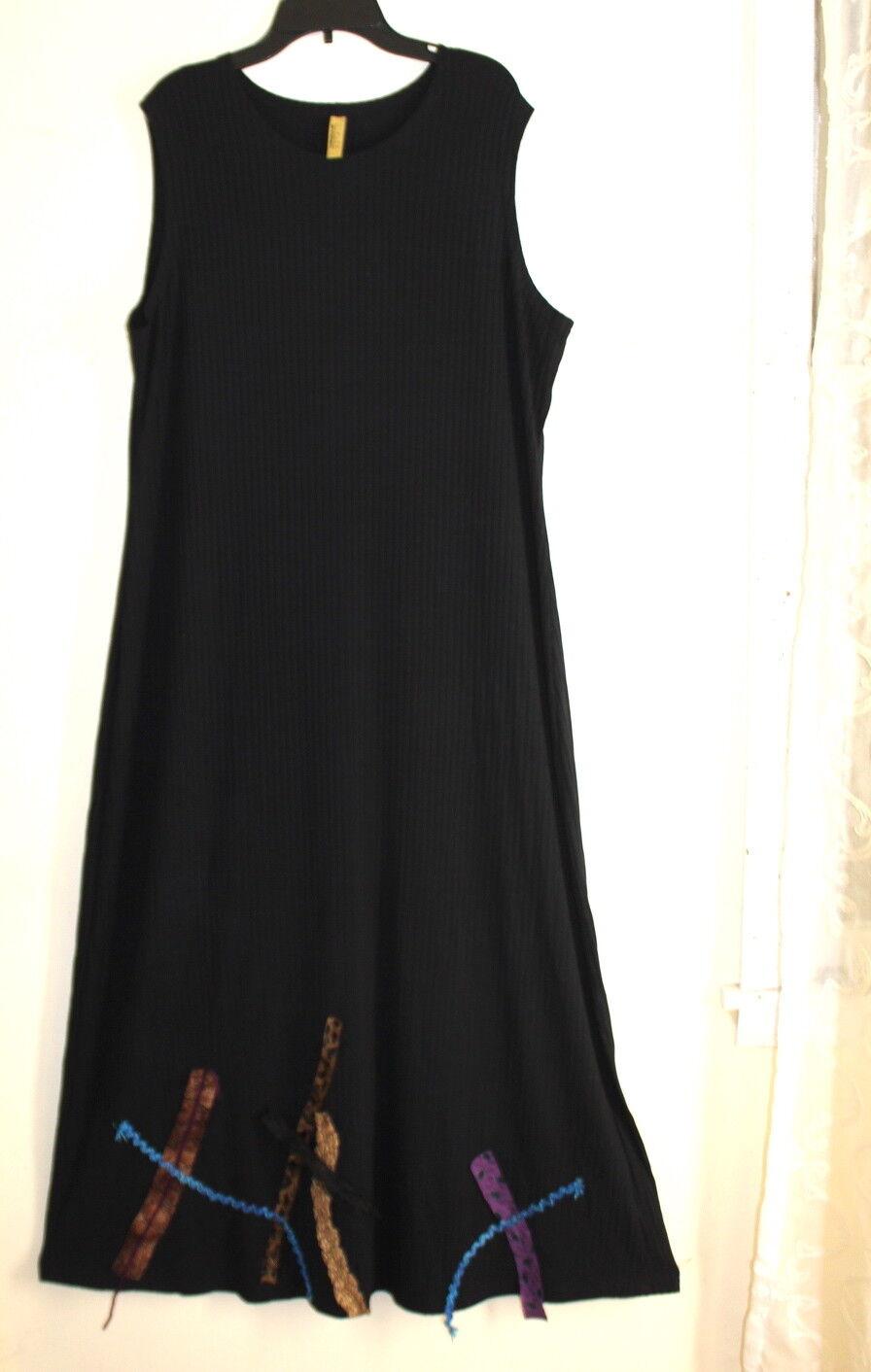 Staley Gretzinger Fun Wearable Art Funky Lagenlook Ribbed Sleeveless Dress Sz L