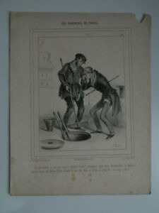Gravureles Trabajadores París Lito Bauger Aubert Juego Caricatura Hemlock N º 30